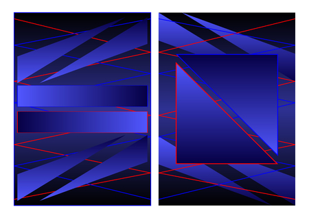 cover geometric abstraction, triangles gradient of dark blue. Vector Illustration