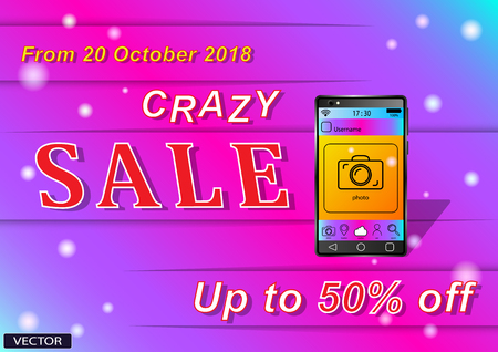Crazy Sale Smartfon. Advertising discounts, sales on a gradient background Ilustracja