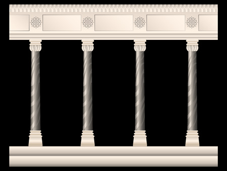 set of stone columns in different styles isolated. Columns in antique style, Baroque, stucco, marble. Realistic vector illustration