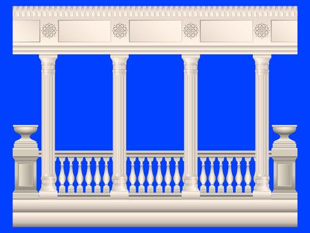 conjunto de columnas de piedra en diferentes estilos aislado. Columnas de estilo antiguo, barroco, estuco, mármol. Barandas de estuco, mármol, piedra, antigüedades, con parterres. Ilustración vectorial realista