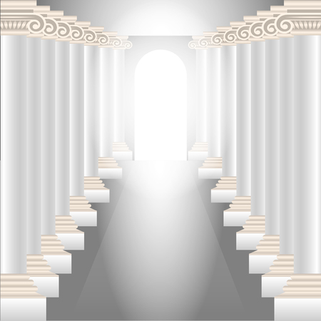column hall. Gorgeous corridor with columns and a glowing heavenly light at the end. Vector Illustration