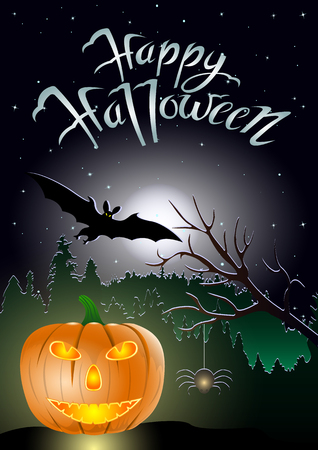 Happy Halloween, pumpkin,bat and spider against  the dark forest and starry night sky. Vector Illustration Illustration
