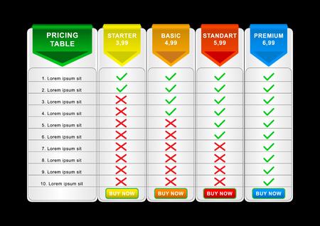 Preisliste zum Vergleich. Vergleichen von Preis- oder Produktplandiagrammen Vergleichen Sie das Produktgeschäftsbildraster. Dienstleistungen kosten Tabelle unbegrenzte Menüplanung Infografiken Vorlage. Vektorillustration Vektorgrafik