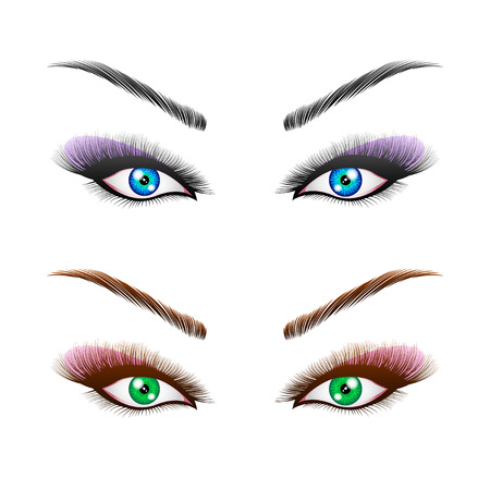the woman's eyes with perfectly shaped eyebrows and full lashes with intense make-up. Beautiful girl eyes close-up, thick long eyelashes, vector illustration