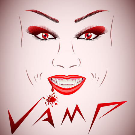 Beautiful vampire face. Vampire Halloween Woman portrait. Beauty Sexy Vampire Girl with dripping blood on her mouth. Vampire makeup Fashion Art design.  Halloween make up. Vector Illustration