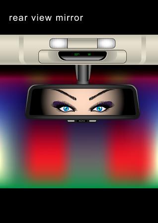 Rear view mirror. Beautiful women looks in the mirror of car
