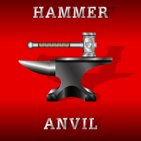 black anvil and forging hammer isolated on a red background. Vector Illustration