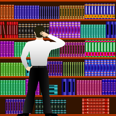 Young man chooses a book in the library. Vector Illustration