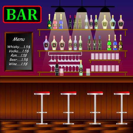 Bar, Restaurant with counter. Banner of interior with bar counter, pub chairs and shelves with alcohol. Vector Illustration