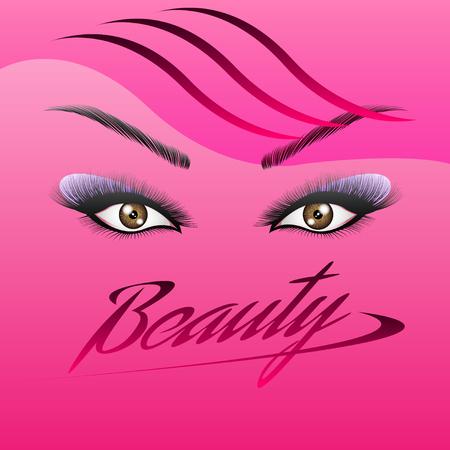 los ojos de la mujer con cejas perfectamente perfiladas y pestañas llenas de maquillaje intenso. Hermosa niña ojos primer plano, pestañas largas y gruesas, ilustración vectorial