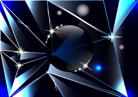 triangular shards of dark glass, Prisms, glass ball, abstract background. Vector Illustration