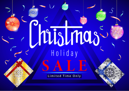 Christmas Holiday Sale. Balls with snowflakes, confetti, gifts on blue background