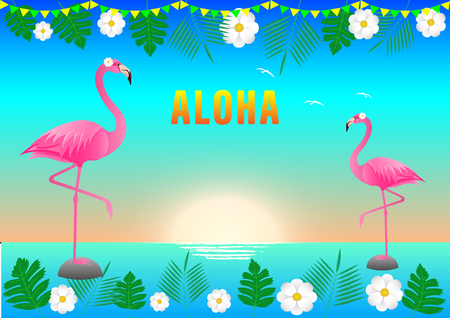 flamingos at sunset and azure sea, multicolored flags, white flowers and tropical leaves at the edges. Vector Illustration