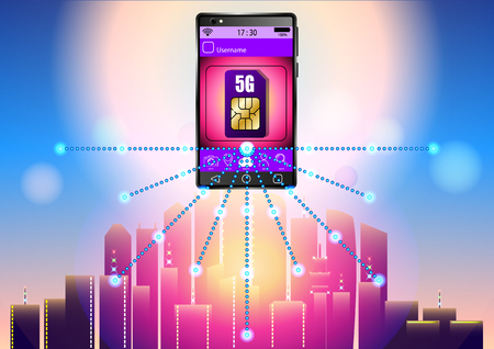 5G sim card, smartphone on the background of the city. Vector Illustration