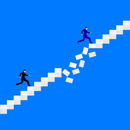 Two men running after each other on the crumbling stairs. Flat design vector Illustration. Illustration