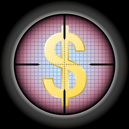 the dollar sign in the optical sight. Vector Illustration
