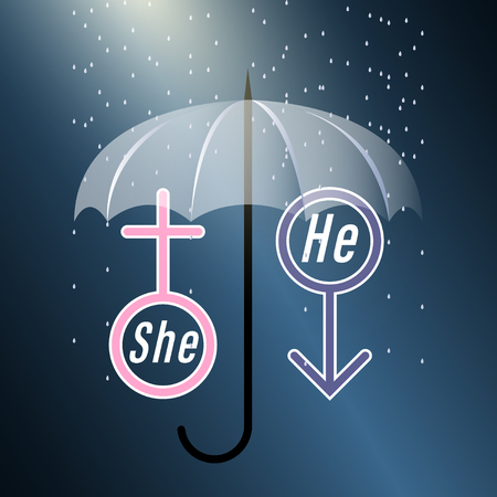 She and he. Symbols of a man and a woman covered with an umbrella in the rain on a dark background. Vector Illustration