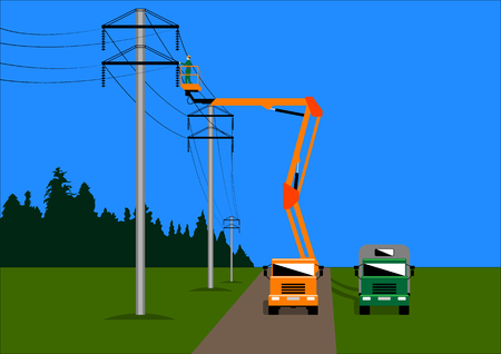 un électricien sur la plate-forme élévatrice répare la ligne haute tension. Illustration vectorielle