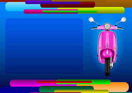 Layout abstract page and pink electric scooter. Vector Illustration