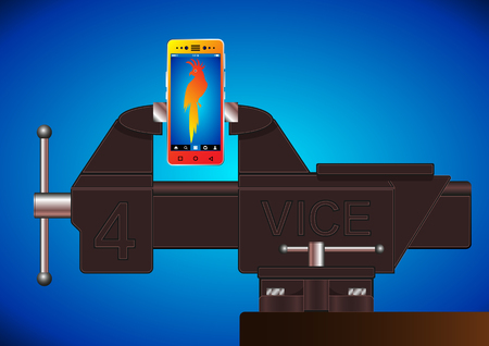 Smartphone smartphone with a picture of a parrot clutched in a Realistic Vice. Vector Illustration