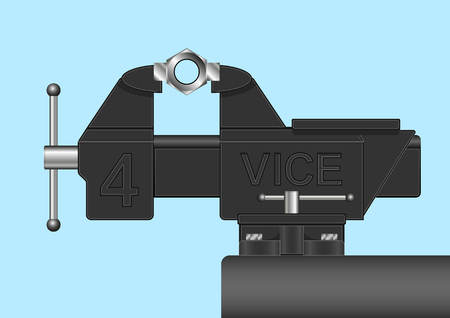 iron nut clutched in a Realistic Vice. Vector Illustration Illustration