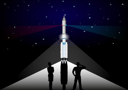 people watching the rocket at the start against the night starry sky. Vector Illustration