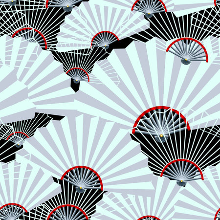 grey fan on black background abstract seamless pattern. Vector Illustration