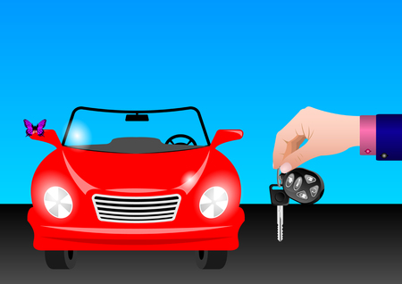 keys with remote control in hand on the background of the car. Vector Illustration