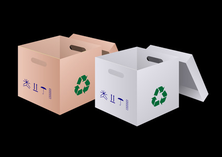 open cardboard box for product packaging with separate cover, with trademarks on the sides, 3D realistic design