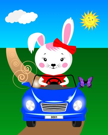 Cartoon bunny in the car rides on the road and sees a butterfly sat on the mirror. Vector illustration Фото со стока - 129279194