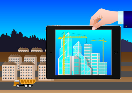 hand holding a tablet with a project to build new skyscrapers on the background of the old city. Vector Illustration