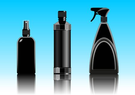 black plastic container, packaging for cosmetic, chemical, liquid products, a set of different shapes. Vector illustration  イラスト・ベクター素材