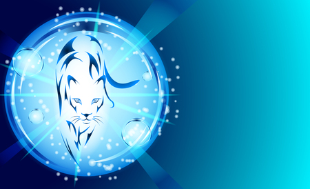 Panther with blue light effects in a glowing bubble. Vector Illustration