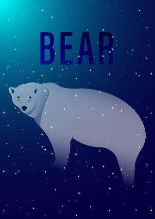 Polar bear on starry sky background. Vector Illustration