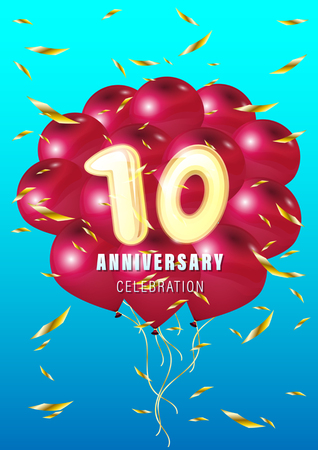 Ten anniversary celebration. Gold number 10 with sparkling confetti and flying red balls. Vector holiday illustration. Realistic 3D sign. Birthday or wedding event decoration