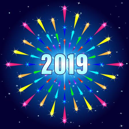 Happy New 2019. Multi-color Fireworks Shape. Vector Illustration