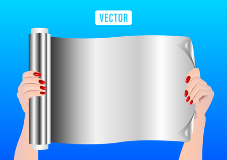 a roll of aluminum foil in the hands. Vector Illustration