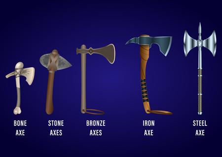 realistic set of historical fighting axes: bone, stone, bronze, iron, steel. Vector Illustration