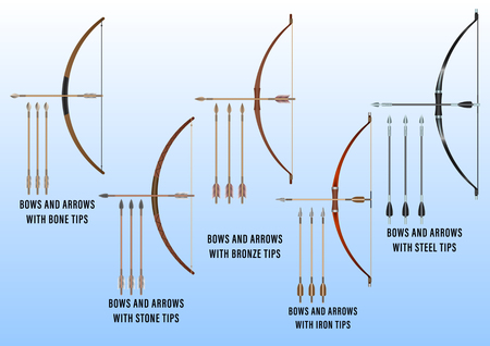 realistic set of historical fighting bows and arrows: bone, stone, bronze, iron, steel. Vector Illustration
