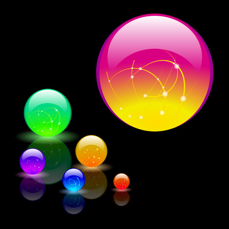 Magical multicolored glass balls on a black background. Vector Illustration