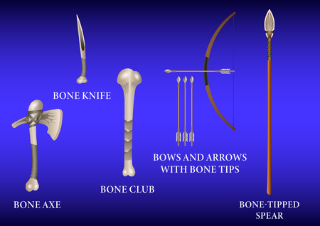 Realistic 3d Set Bone fighting cold weapon izolated on a blue background. Vector Illustration Vectores