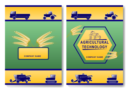 Agricultural technology cover design template. farm machinery and ears of wheat. Truck, wheeled and tracked tractors, harvester,
