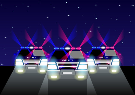 3 police off-road cars with signal lights on the road at night, against the starry sky. Vector Illustration