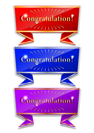 beautifully designed message of congratulations with gold, silver and bronze edging. Vector Illustration