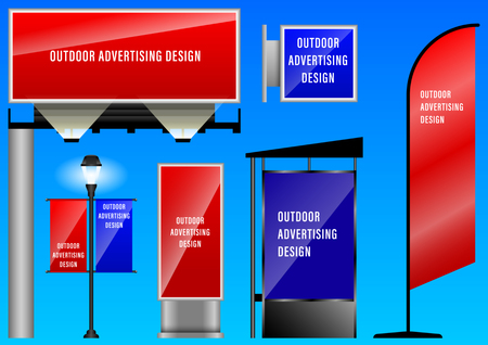 Realistic 3d set outdoor advertising design for corporate identity. Vector Illustration Illustration