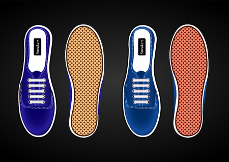 sports shoes, sneakers realistic blue view from above and from the sides of the soles isolated on black background. Vector Illustration