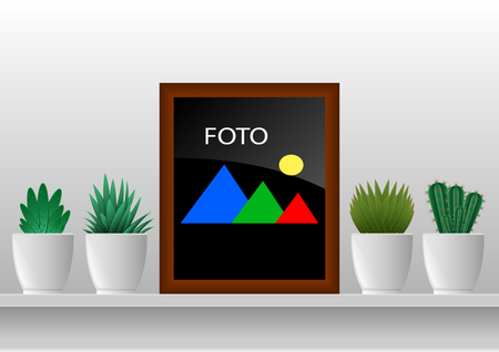 houseplants in potted and photoframes on the wall. Collection of various cactus. Vector Illustration.