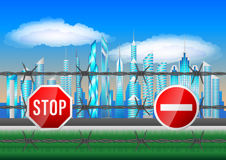 No entry in City. Skyscrapers fenced with barbed wire, prohibiting signs. The border fence. Vector Illustration