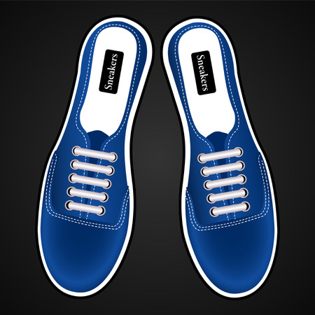 sports shoes, sneakers realistic blue view from above isolated on black background. Vector Illustration