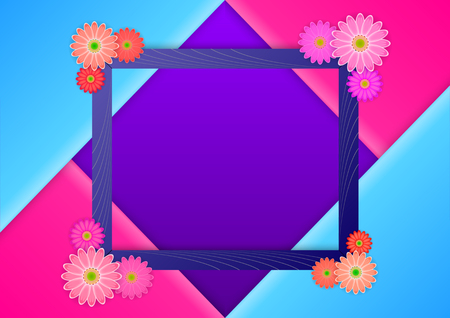 Realistic 3d photoframe with flowers at the corners, on the folded triangle of candy colors. Floral flat lay minimalism geometric patterns greeting card. Vector Illustration. Vetores